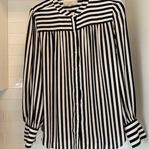 Loft Blk/Wht stripe shirt medium